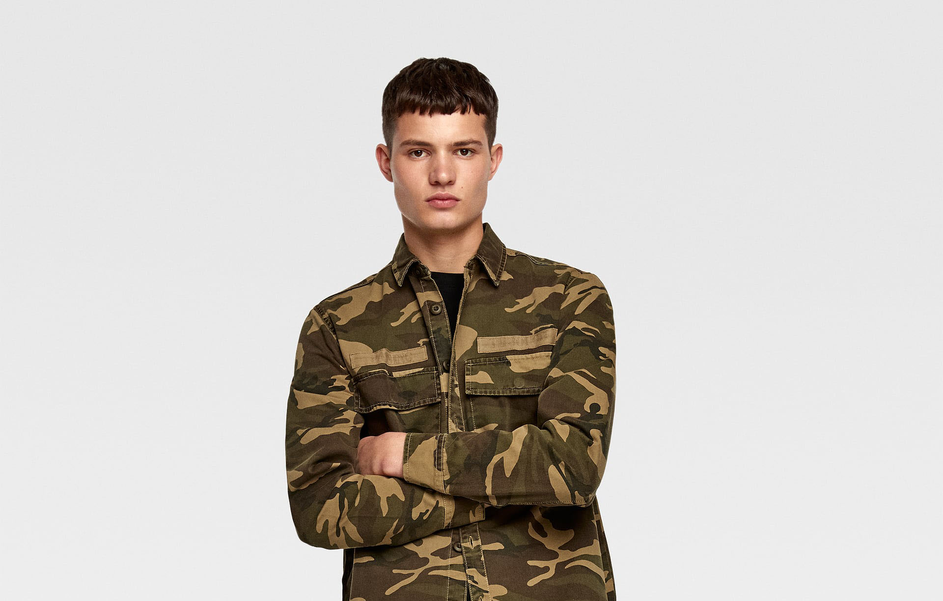 CAMOUFLAGE PRINT OVERSHIRT WITH PATCHES